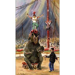 L'éléphant et l'équilibriste - Aquarelle de JC Duboil