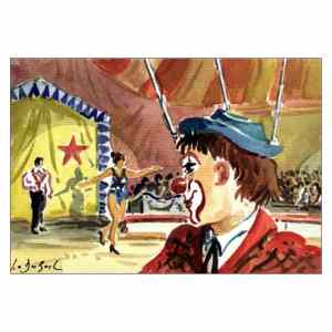 Regard de clown - Aquarelle de JC Duboil