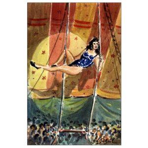 La trapéziste - Aquarelle de JC Duboil