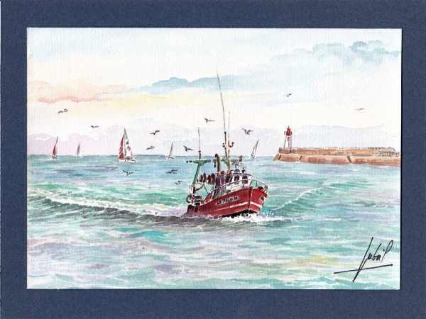 ^Retour de pêche aux Sables d'Olonne - Aquarelle de Jean-Pascal Duboil