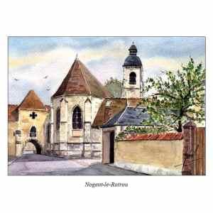 Porche de l'église Saint-Laurent - Nogent-le-Rotrou - Aquarelle de Jean-Pascal Duboil
