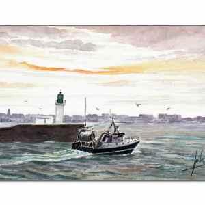 Départ en pêche aux Sables d'Olonne - Aquarelle de Jean-Pascal Duboil