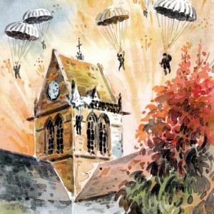 D-Day - Sainte-Mère-Église - Aquarelle de JC Duboil
