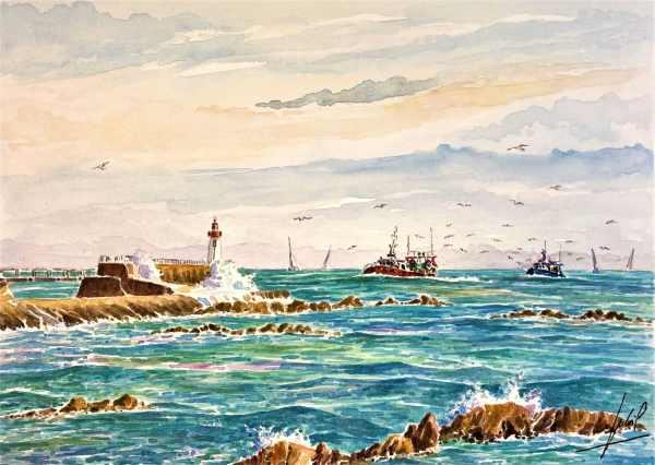 Retour de pêche au large des Sables d'Olonne - Aquarelle de Jean-Pascal Duboil - JP-Artiste.com