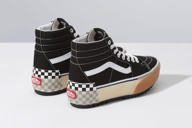 """ヴァンズ チャンキーソール Vans """"Stacked"""" Platform Era and Sk8-Hi Sneakers confetti fairy wren sea green checkerboard white colorway"""