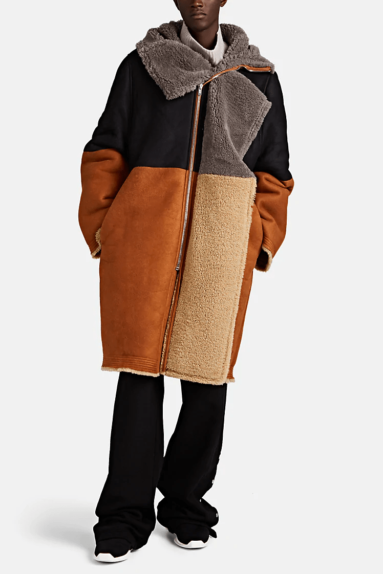 Fall リック オウエンス Rick Owens 秋冬 新作 2019 コレクション コート Colorblocked Shearling Coat Low Stock