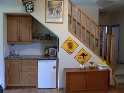 Basement Idea Mini Bar Under Stairs For The Home Juxtapost | Bar Under Stairs Design | Stair Storage | Basement Remodeling | Floating Shelves | Space | Escaleras