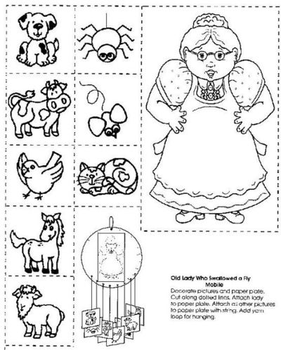 there was an old lady who swallowed a fly printable school planning