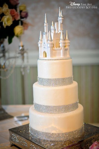 White Chocolate Cinderella Castle Bling Wedding Cake