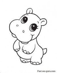 printable baby hippo coloring pages kids fargelegge tegninger