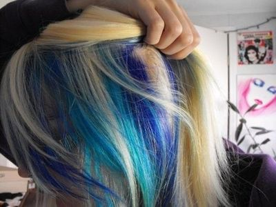 try electric blue and fish bowl blue from special effects to hair tips juxtapost