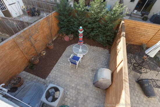 Apartment Photography session view of the backyard from dining room