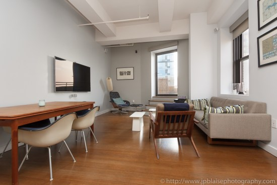 Interior photographer took a picture of this new york living room in downtown brooklyn