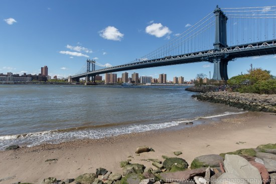 Apartment photography - views of the manhattan bridge from the brooklyn waterfront