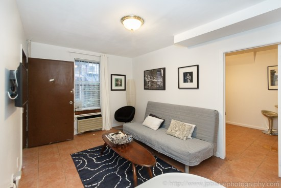 Interior photographer work: living room of one bedroom apartment in midtown west