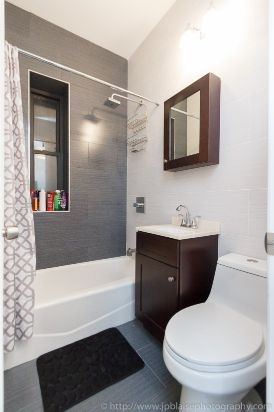Interior photographer work: bathroom of a one bedroom apartment on the upper west side of Manhattan of New York city