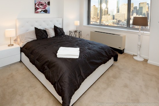 New York Real Estate photographer: Bedroom room of two bedroom apartment in Midtown Manhattan New York City
