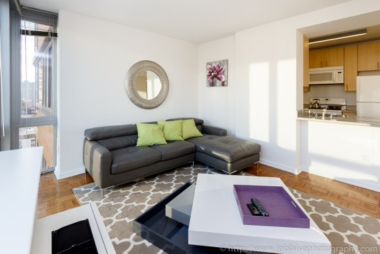 Real Estate photographer work: two bedroom apartment in Midtown Manhattan living-room