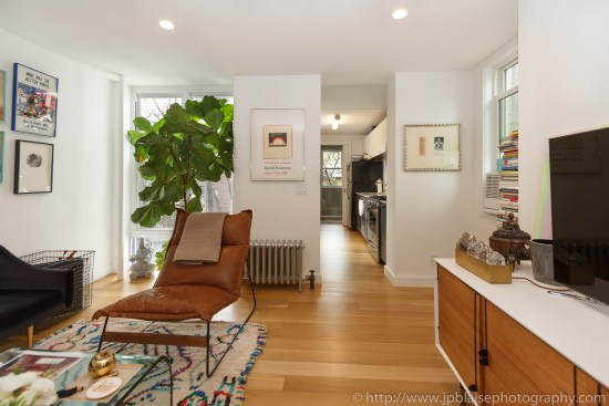 Interior photographer work west village one bedroom apartment living room