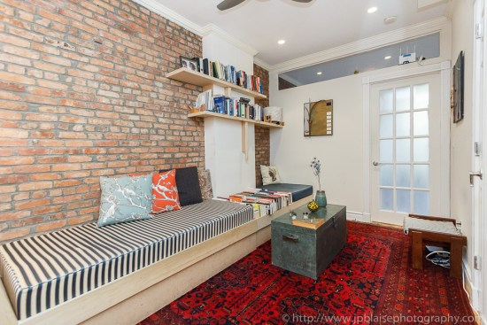 Real Estate photography of the living room of an apartment in the East Village of NYC