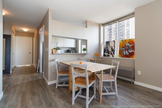 NYC Apartement photographer 2 bedroom midtown west bedroom kitchen area
