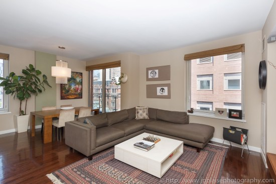 Real estate photographer living room of midtown west apartment