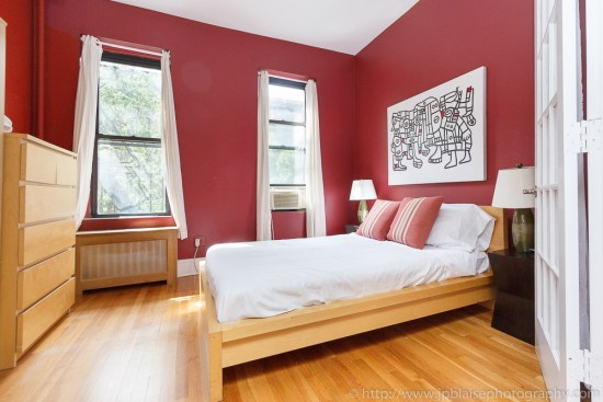 Professional photography of a bedroom, in a two bedroom unit on the Upper West Side, New York City