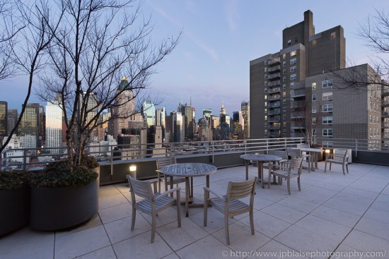 View of Midtown Manhattan Skyline from building terrace (New York City)