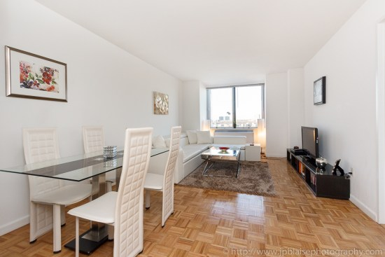 Real Estate photographer: view of the living room of a one bedroom on the upper west side of manhattan nyc