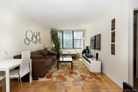 ny apartment photographer work one bedroom unit with midtown east views living room