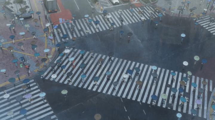 Shibuya Crossing in Tenki No Ko