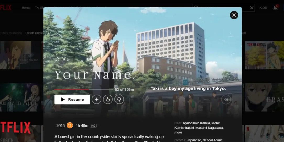 screenshot of watching your name kimi no na wa on Netflix
