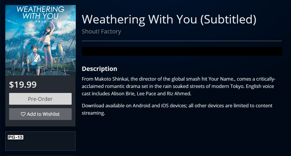 Watch Weathering With You online on the PlayStation Store