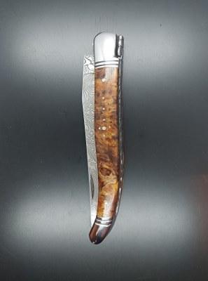 Laguiole 12cm Lame Damas, loupe de Tilleul