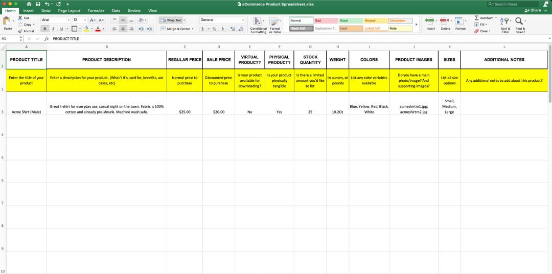 eCommerce Product Spreadsheet (Screeshot)