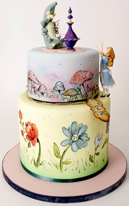 Stunning Hand Painted Alice In Wonderland Cake From Charm