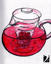 Tea inside glass pot