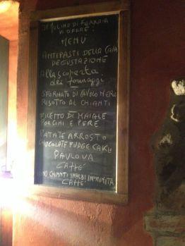 The menu that night -