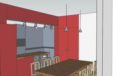 Retour cuisine en stratifié rouge