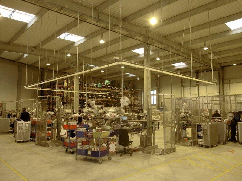 Zone de travail dans l'entrepôt