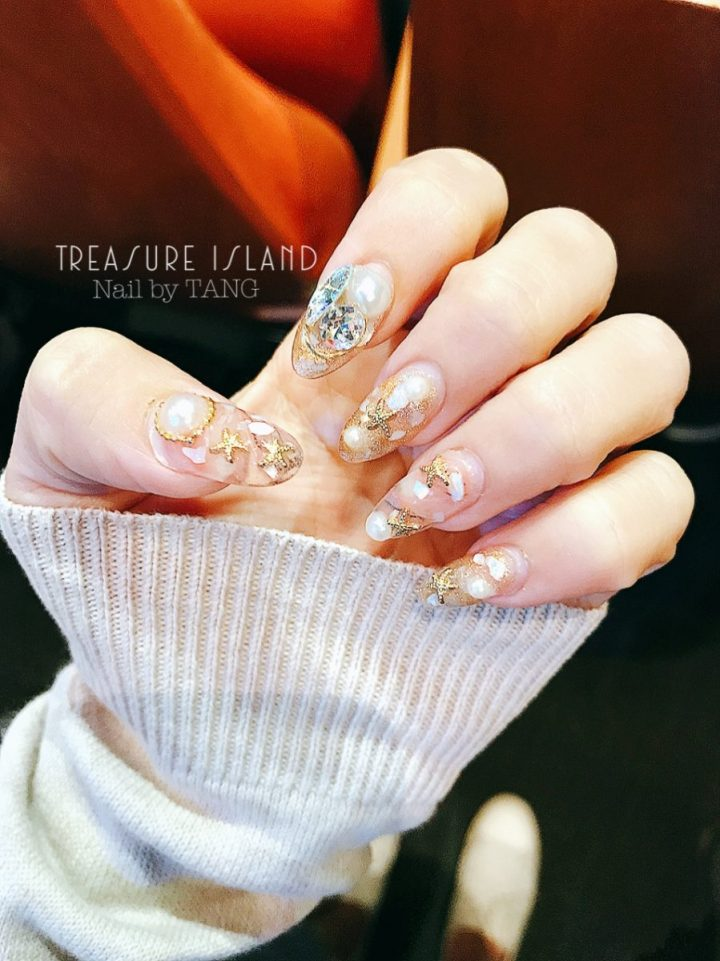 Nail by TANG Treasure Island Acrylic Extension Gel Seashell Starfish Diamond Nails (1)