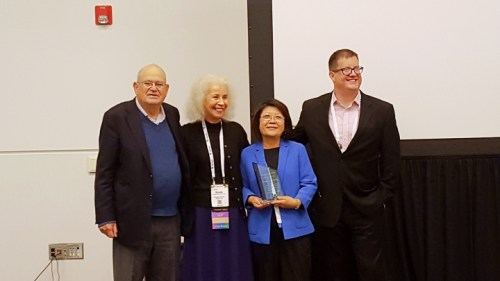 Dr. Lloyd Novick, editor-in-chief of the Journal of Public Health Management & Practice; Dr. Brenda Stevenson-Marshall, Health Administration Section chairperson; Dr. Sandra Liu, award recipient; and Dr. Justin B. Moore, associate editor of JPHMP