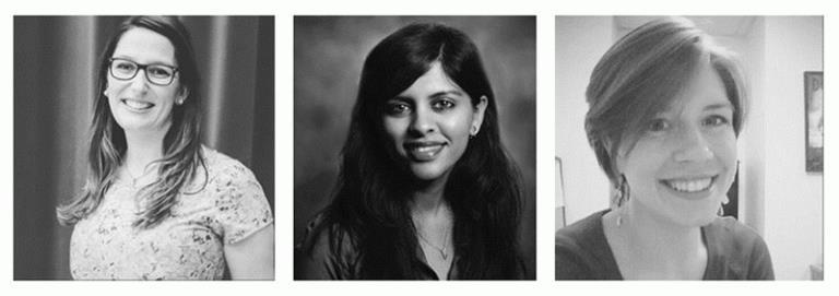 Rebeccah Bartlett, Zainab Alidina, and Hannah Rackers at UNC Gillings School of Global Public Health