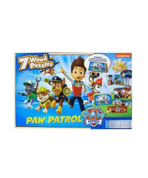 7 Wood Puzzles Paw Patrol In Wooden Storage Box