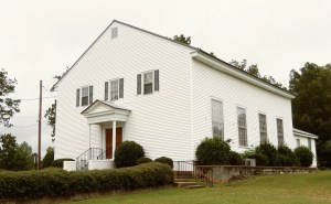 Long Cane Baptist Church, a possible site of the 1845 first Sacred Harp convention, features a balcony in which enslaved African Americans sat after entering the church through a separate, then-outdoor staircase.