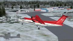 Un Dash 7 qui décolle de Sherbrooke dans FSX