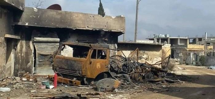 آليات العدو التركي المدمرة في الهجوم الأخير على جبهة النيرب بريف إدلب
