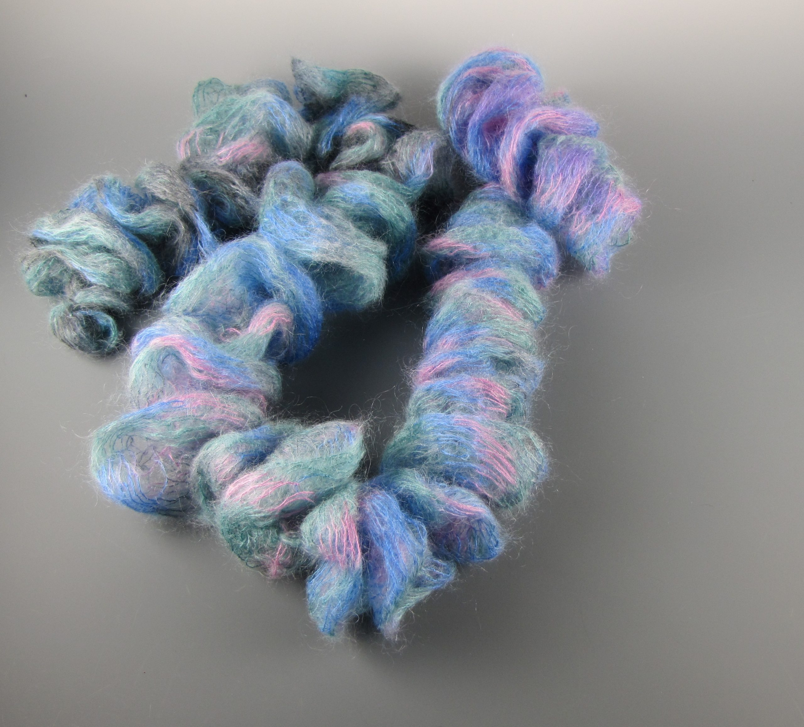 Pink, Blue and Green Silk Mohair Scarf