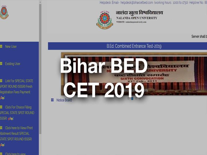 Bihar BED CET INT 2019