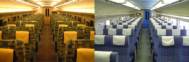 Green (left)/Non Reserved Ordinary (right) Don't take Non Reserved Ordinary on Max. 3+3 seat configuration is terrible! (C) Sonic Rail Garden